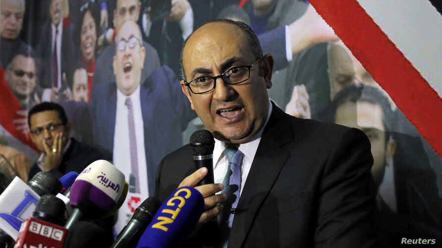 Egyptian lawyer and ex-presidential candidate Khaled Ali speaks during a news conference in Cairo, Egypt, Nov. 6, 2017.