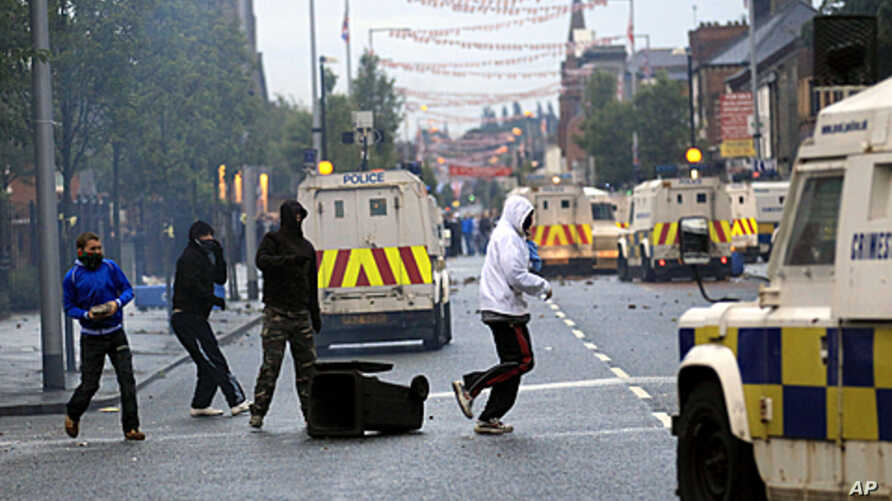 Loyalist rioters attack Police in East Belfast, Northern Ireland, June, 21, 2011