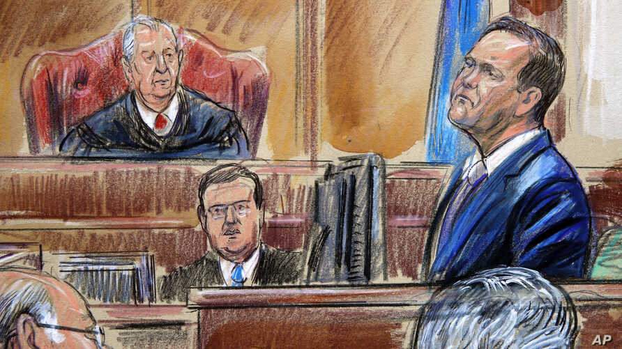 This courtroom sketch depicts Rick Gates on the witness stand as he is cross examined by defense lawyer Kevin Downing during the trial of former Donald Trump campaign chairman Paul Manafort , Aug. 7, 2018., as  U.S. District court Judge T.S. Ellis II...