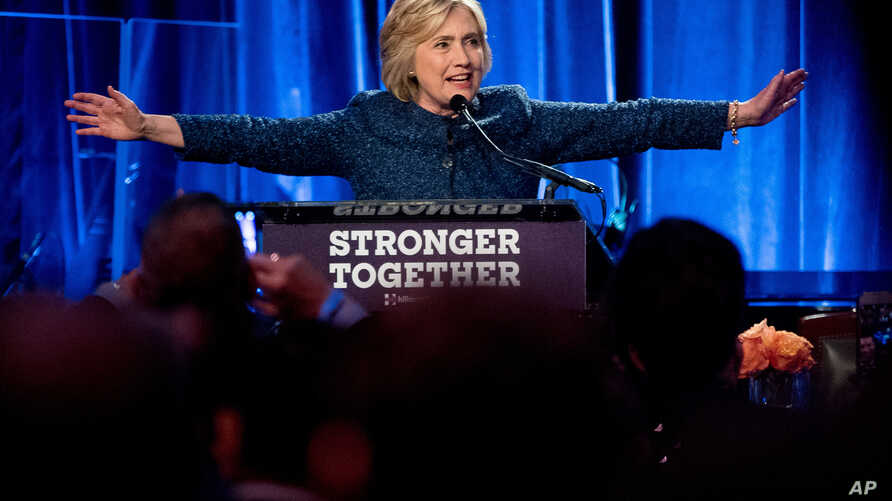 Democratic presidential candidate Hillary Clinton speaks at an LBGT for Hillary Gala at the Cipriani Club in New York, Sept. 9, 2016.