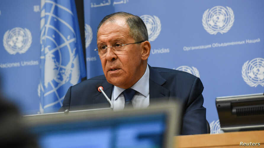 Russia's Foreign Minister Sergey Lavrov delivers remarks at a news conference at the 72nd United Nations General Assembly at U.N. headquarters in New York City, Sept. 22, 2017.