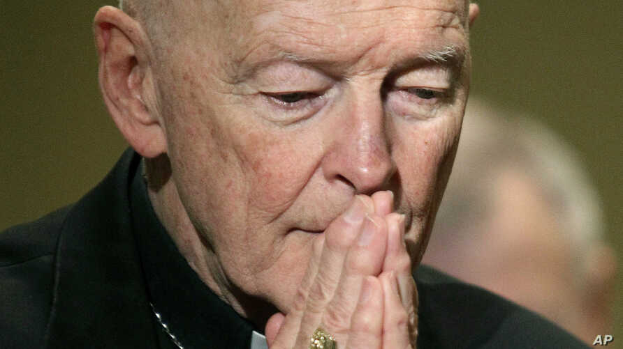 FILE - Cardinal Theodore McCarrick prays during the United States Conference of Catholic Bishops' annual fall assembly in Baltimore, MD.
