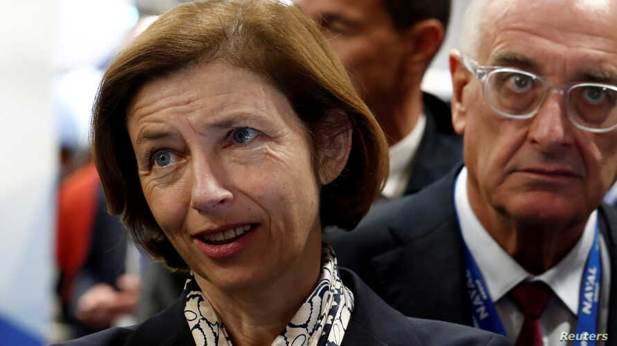 French Defence Minister Florence Parly visits Euronaval, the world naval defence exhibition in Le Bourget near Paris, France, Oct. 23, 2018.