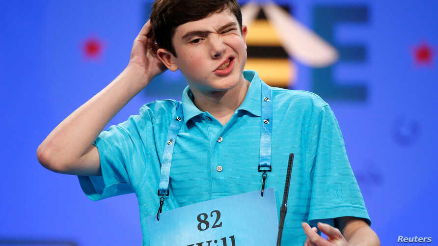 Will Lourcey, 14, of Fort Worth, Texas, contemplates a word during the 2017 Scripps National Spelling Bee at National Harbor in Oxon Hill, Md., U.S., May 31, 2017.