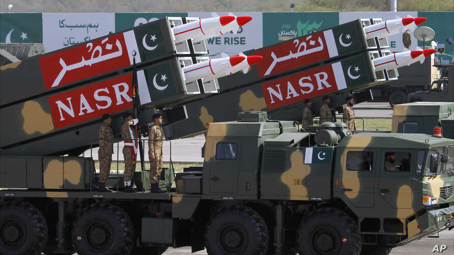 Pakistani-made NASR missiles are on display during a military parade to mark Pakistan's Republic Day, in Islamabad, March 23, 2017.