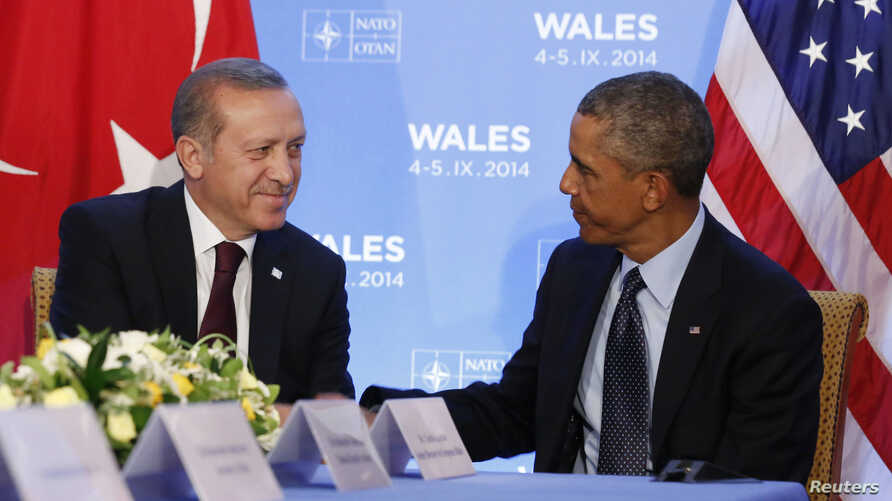 U.S. President Barack Obama hosts a bilateral meeting with Turkey's President Tayyip Erdogan during the NATO Summit in Newport, Wales September 5, 2014.  REUTERS/Larry Downing