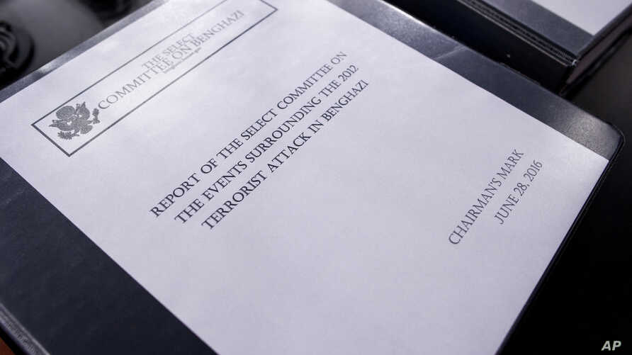 The final report on the 2012 attacks on the U.S. consulate in Benghazi, Libya, where a violent mob killed four Americans, including Ambassador Christopher Stevens, rest on a podium on Capitol Hill in Washington, June 28, 2016.
