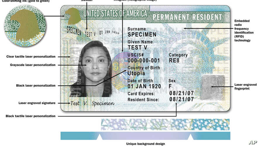 "This image released by USCIS shows a sample of the front of the redesigned green card carried by foreign-born residents living permanently in the U.S. The Homeland Security Department is issuing the redesigned ""green card"" that is stacked with safety"