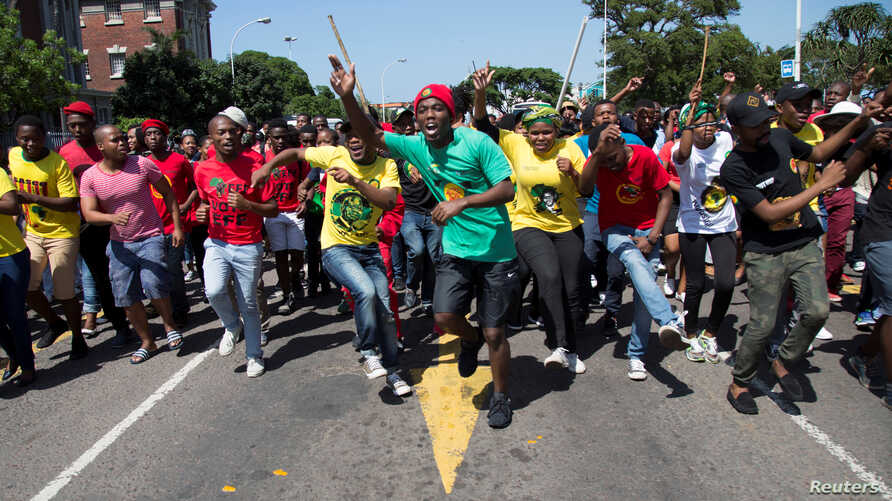 Students at the Durban University of Technology march as countrywide protests demanding free tertiary education continue in Durban, South Africa, Sept. 26, 2016.