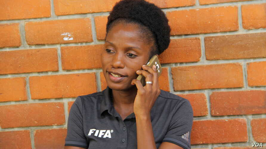 Bernadette Kwimbira-Mzika says it is important to her that she maintains her reputation as a good referee up to the time she retires. (L. Masina/VOA)