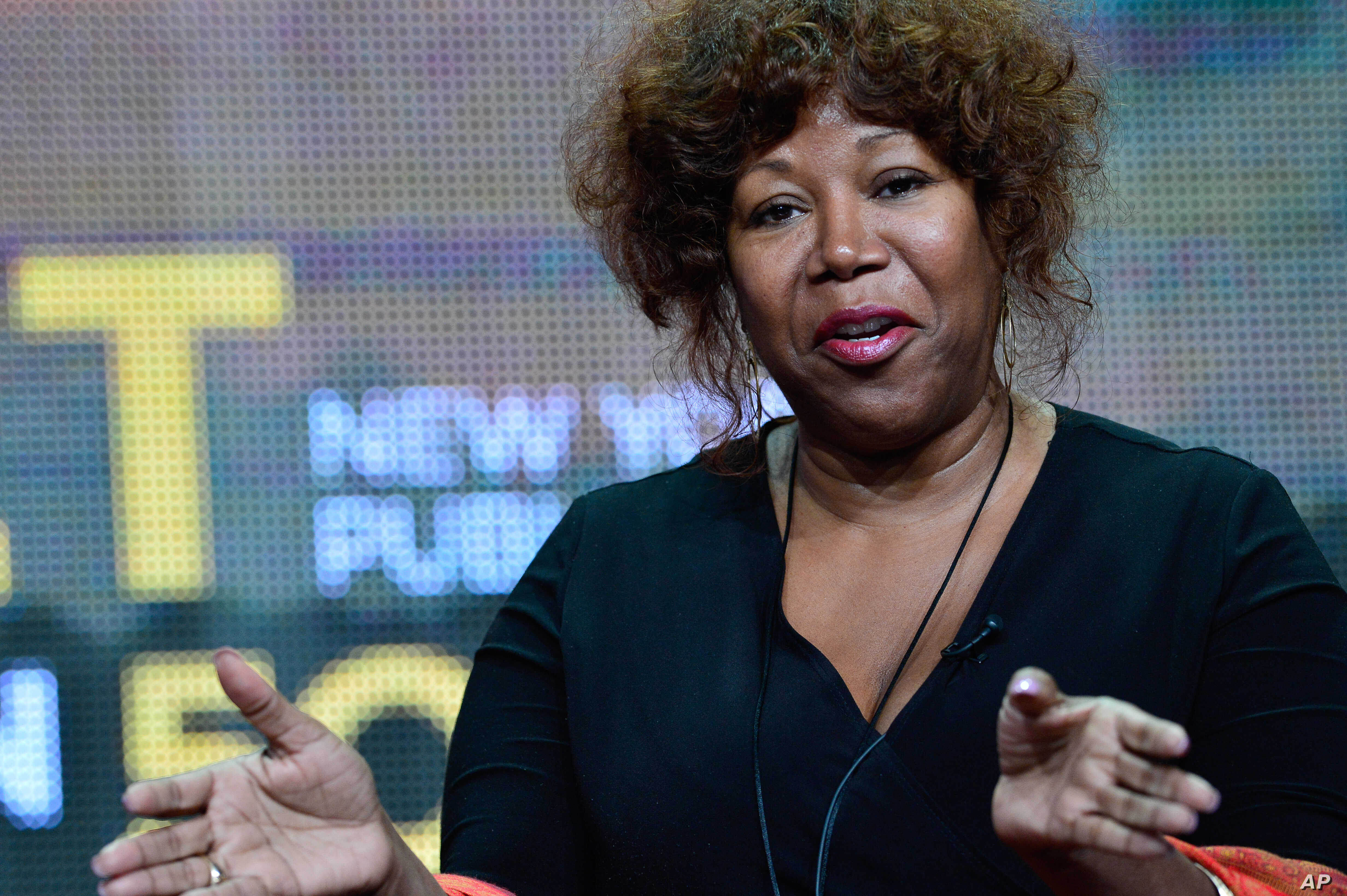 """FILE - Civil rights icon Ruby Bridges speaks during PBS' """"The African Americans: Many Rivers to Cross with Henry Louis Gates Jr."""" session at the Television Critics Association Summer Press Tour in Los Angeles."""