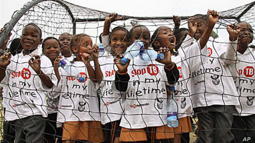 Children participate in the launch of a global plan to stop TB, in Alexandra Township north of Johannesburg, 13 Oct 2010