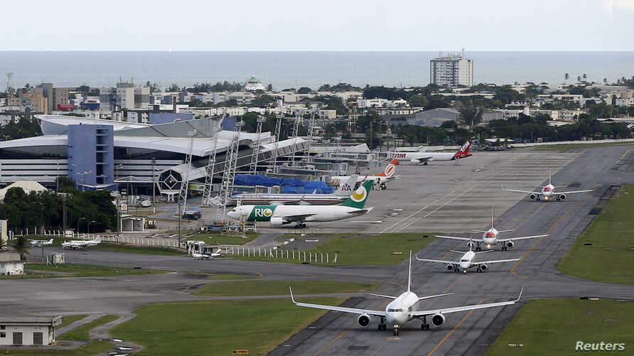 An aerial view of the International Airport of Recife, northeastern Brazil, April 6, 2014. Recife is one of the host cities for the 2014 World Cup in Brazil.