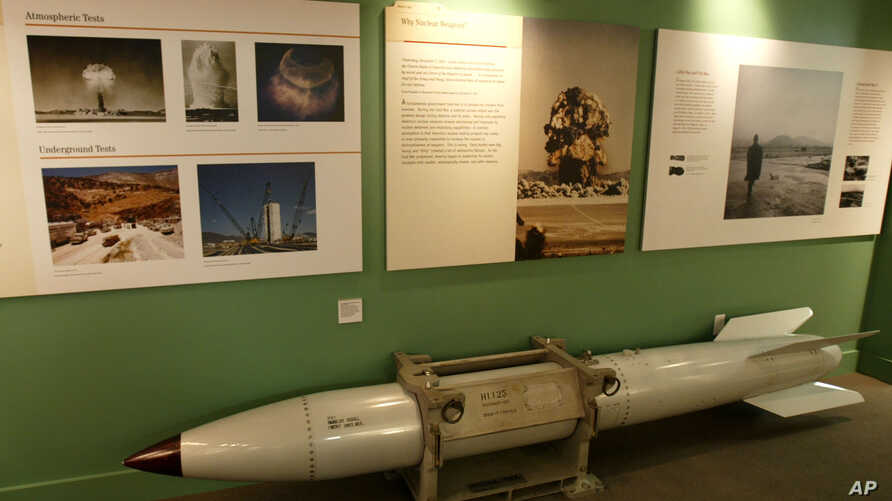 An empty B61 multipurpose thermonuclear tactical bomb is on display at the Atomic Testing Museum, Feb. 11, 2005, in Las Vegas. The museum is operated in conjunction with the Smithsonian Institution.