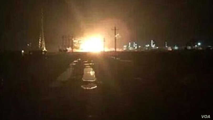 Blast at chemical plant in Dongying, in  eastern province of Shandong province, China, Aug. 31, 2015. (Photo: Weibo)