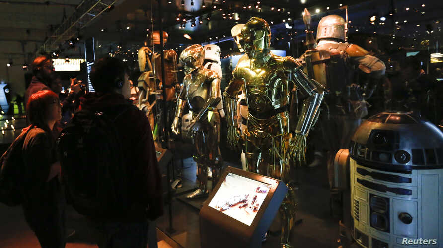 "FILE - Characters from the ""Star Wars"" film series are seen during a press preview for the exhibit ""Star Wars Identities"" at the MAK museum in Vienna, Austria, Dec. 17, 2015. ""Star Wars"" filmmaker George Lucas has chosen Los Angeles to host his new m"