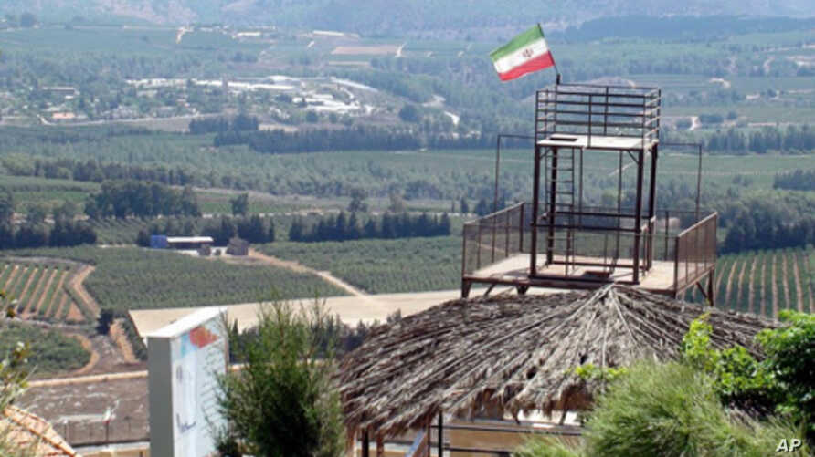 An Iranian flag flies above a hilltop park overlooking Israel, 02 Sep 2010. The garden was a gift from Tehran to the people of South Lebanon.