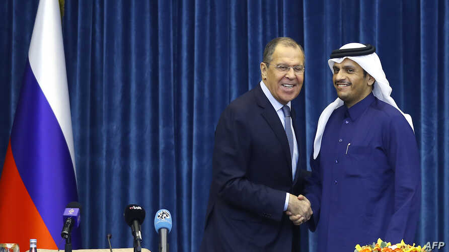 Qatari Foreign Minister Mohammed bin Abdulrahman al-Thani (R) attends a press conference with his Russian counterpart Sergey Lavrov at the Amiri Diwan Palace in the capital Doha, March 4, 2019.