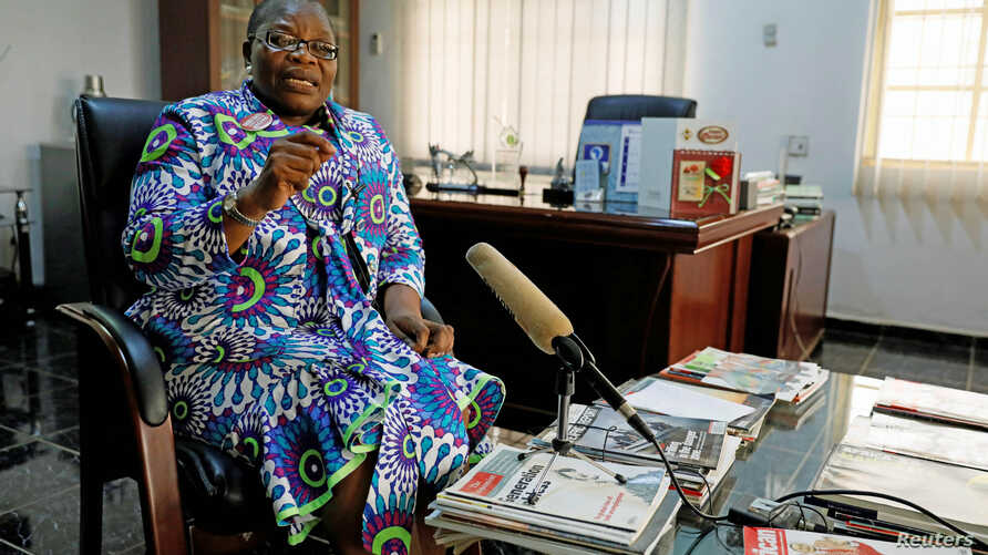 Former Nigerian minister and Chibok girls activist Obiageli Ezekwesili speaks during an interview with Reuters in Abuja, Nigeria, Oct. 8, 2018.