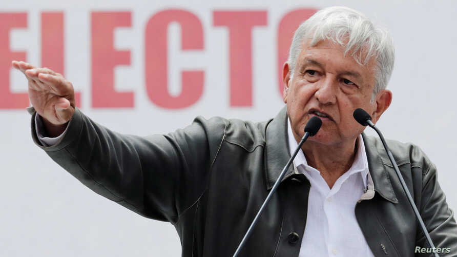 Mexico's President-elect Andres Manuel Lopez Obrador speaks during a rally as part of a tour to thank supporters for his victory in the July 1 election, in Mexico City, Sept. 29, 2018.