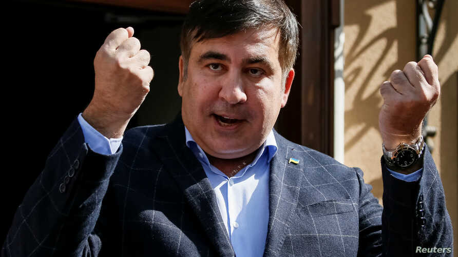 Former Georgian President Mikheil Saakashvili speaks during a press conference in Lviv, Ukraine, Sept. 11, 2017.
