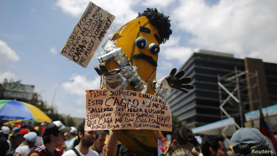 Opposition supporters carry a banana, made to look like President Nicolas Maduro, during a protest against Maduro in Caracas February 22, 2014. REUTERS/Tomas Bravo