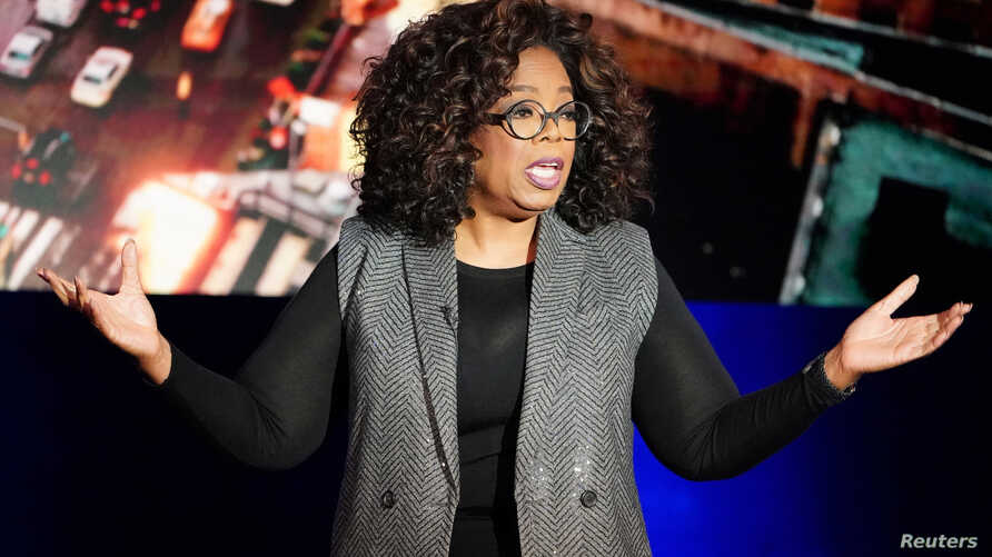 FILE - Oprah Winfrey talks on stage during a taping of her TV show in the Manhattan borough of New York City, New York, U.S., Feb. 5, 2019.