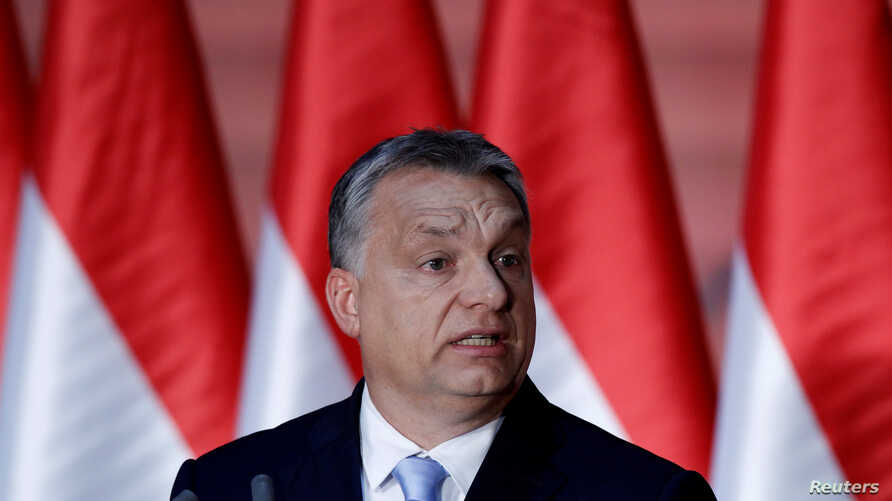 Hungarian Prime Minister Viktor Orban speaks at a campaign event in Budapest, Hungary, June 27, 2017.