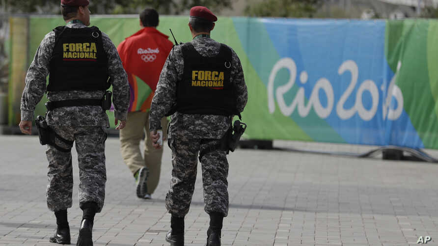 Brazilan security forces at the Olympic Park in Rio de Janeiro, Brazil, Aug. 4, 2016.