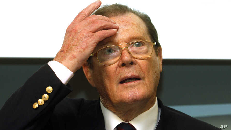 British actor UNICEF ambassador Roger Moore, speaks at a press conference in Vienna, Austria, Nov. 13, 2010. Moore died Tuesday in Switzerland aged 89.