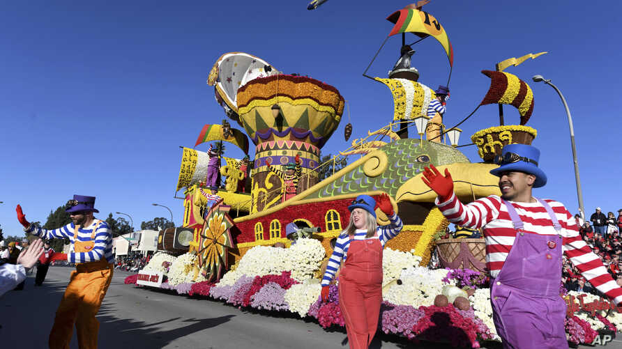 Trader Joe's company float, which won the Crown City Innovator Award, proceeds down the route during the 130th Rose Parade in Pasadena, Calif., Tuesday, Jan. 1, 2019.