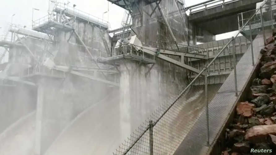 Ross River Dam releases water in Queensland, Australia, in this still photo from a February 3, 2019 video by Julia Hunt.