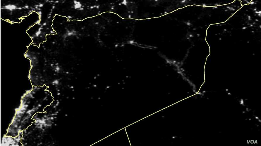 One of the nighttime satellite images of Syria released by a coalition of humanitarian groups show how the country has been plunged into darkness.