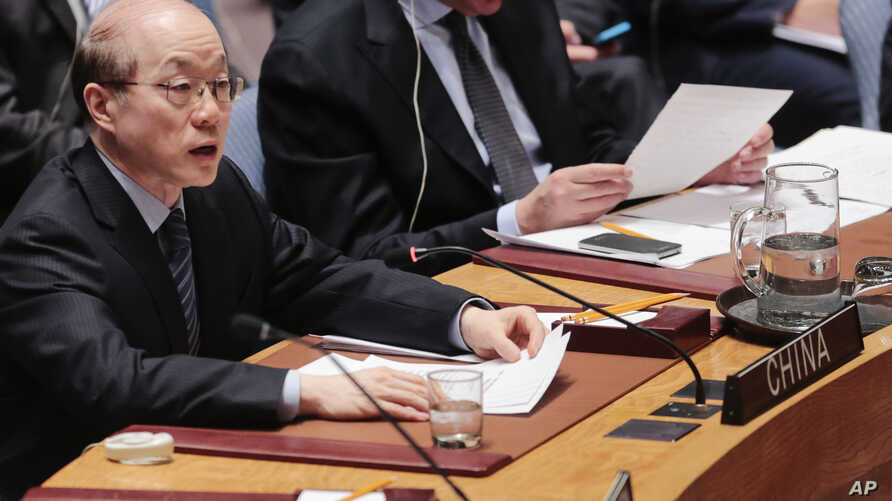 FILE- Chinese ambassador to the United Nations, Liu Jieyi, speaks during a Security Council meeting at United Nations headquarters in New York, March 2, 2016. On Tuesday, Liu called Tuesday for the full implementation of existing Security Council res