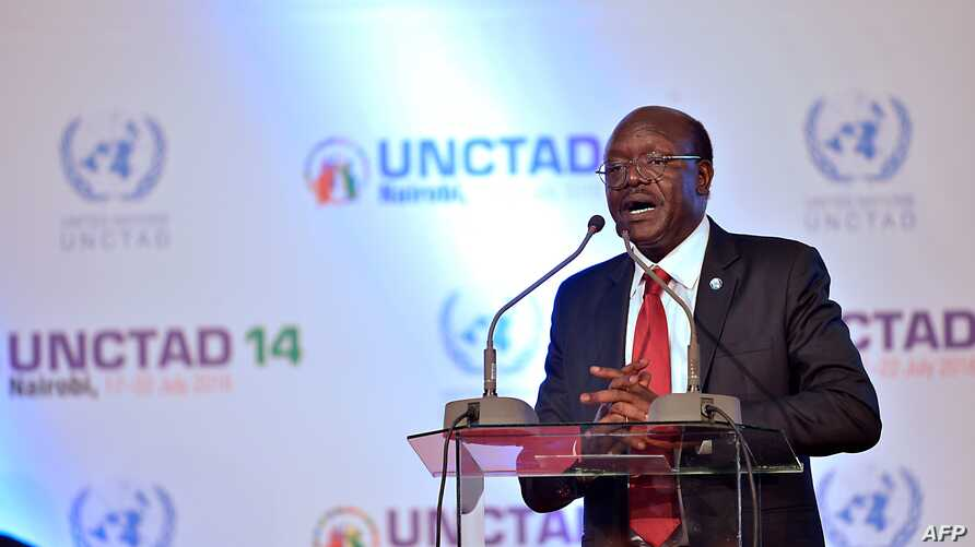 FILE - United Nations Conference on Trade and Development (UNCTAD) Secretary-General Mukhisa Kituyi delivers a speech during the opening session of the UNCTAD, in Nairobi, July 17, 2016.