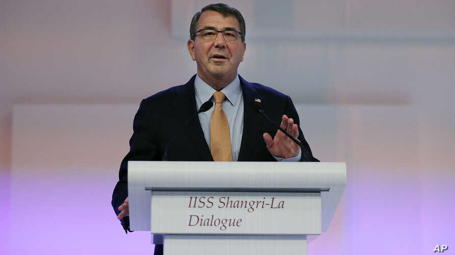 """U.S. Secretary of Defense Ashton Carter delivers his speech about """"The United States and Challenges to Asia-Pacific Security"""" during the 14th International Institute for Strategic Studies Shangri-la Dialogue (IISS) Asia Security Summit, May 30, 2015,"""