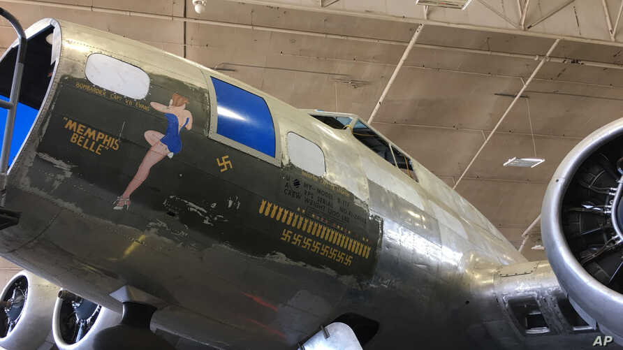 This May 23, 2017 photo shows the B-17 bomber known as the Memphis Belle in the restoration hangar at the National Museum of the U.S. Air Force near Dayton, Ohio.