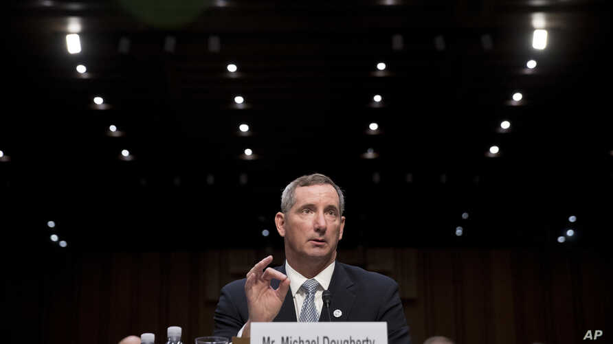 Michael Dougherty, assistant secretary of homeland security for border, immigration and trade policy, speaks at a Senate Judiciary Committee hearing on Capitol Hill in Washington, Oct. 3, 2017, on the Trump administration's decision to end Deferred A