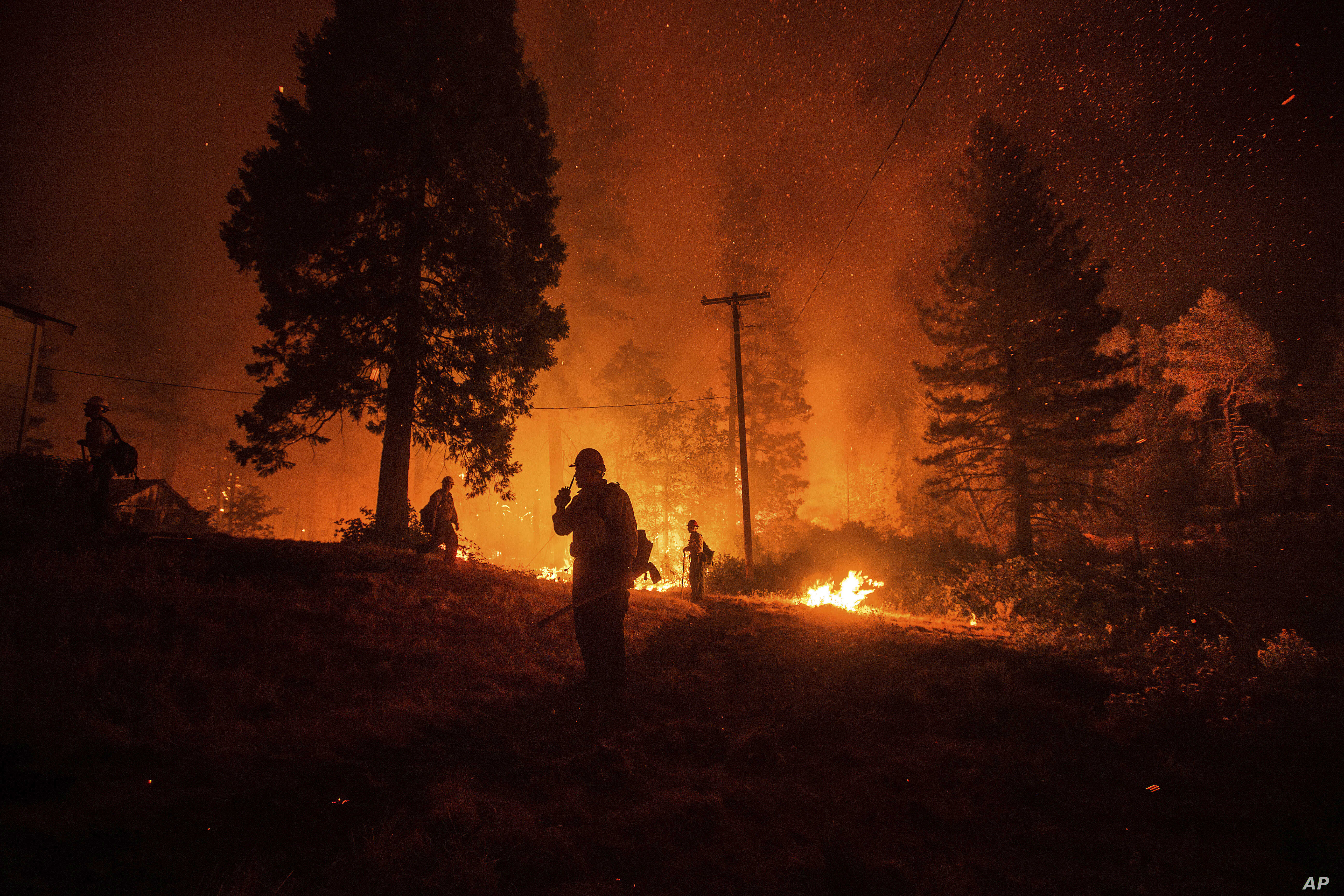 Firefighters monitor a backfire while battling the Delta Fire in the Shasta-Trinity National Forest, Calif., on Thursday, Sept. 6, 2018.