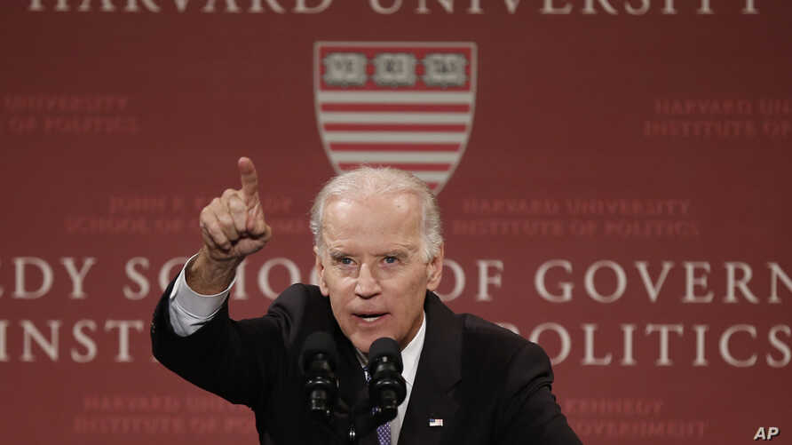 Vice President Joe Biden speaks to students, faculty and staff at Harvard University's Kennedy School of Government in Cambridge, Mass., Oct. 2, 2014.
