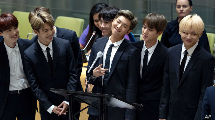 Members of the Korean K-Pop group BTS attend a meeting at the United Nations high level event regarding youth during the 73rd session of the United Nations General Assembly at U.N. headquarters, Sept. 24, 2018.
