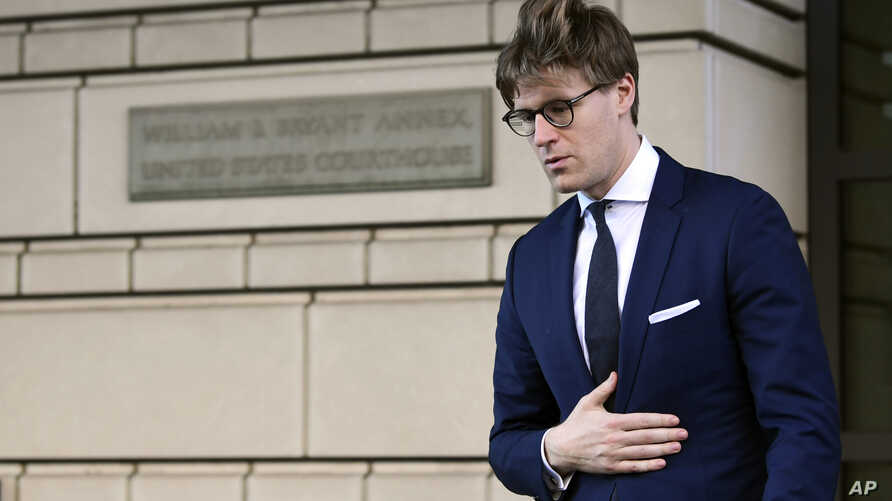 Alex Van der Zwaan leaves Federal District Court in Washington, Feb. 20, 2018.