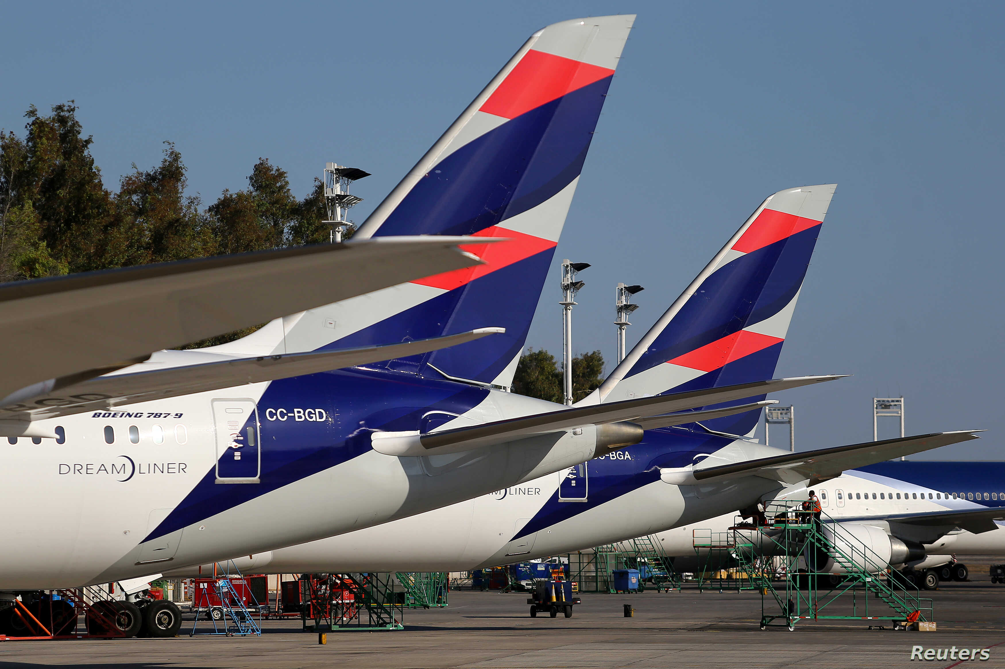 LATAM Airlines planes are seen at Santiago International Airport, Chile, March 30, 2017.