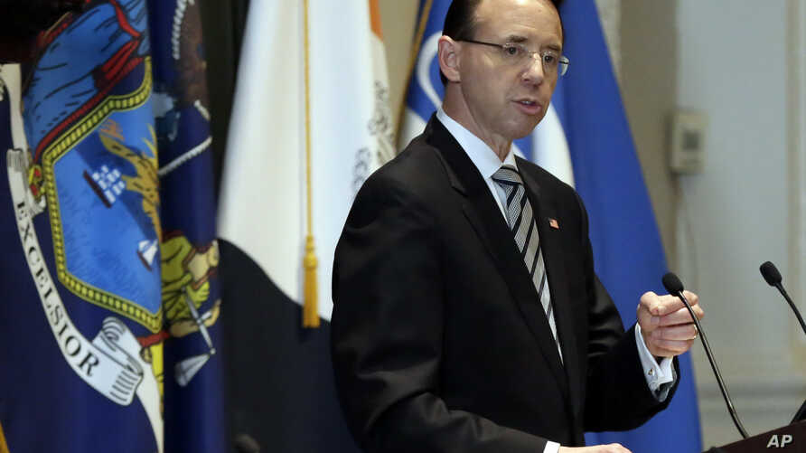 Deputy Attorney General Rod Rosenstein, who has drawn the ire of President Donald Trump for his oversight of investigations of Trump associates, delivers a speech on white collar crime at the New York City Bar Association, in New York, May 9, 2018.