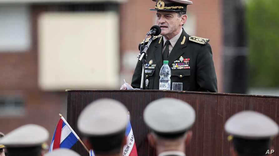 "FILE - Uruguay's commander-in-chief of the army Guido Manini Rios speaks during a ceremony honoring independence war hero Joaquin Lencinas, also known as ""Ansina"" in Montevideo, Uruguay, Oct. 29, 2018."