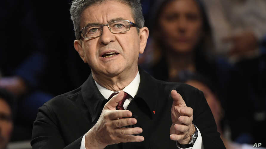 Far-left presidential candidate for the presidential election Jean-Luc Melenchon attends a television debate at French private TV channels BFM TV and CNews, in La Plaine-Saint-Denis, outside Paris, France, April 4, 2017.