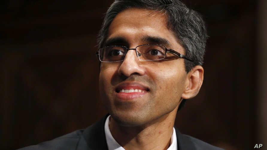FILE - U.S. Surgeon General Dr. Vivek Murthy on Capitol Hill in Washington.