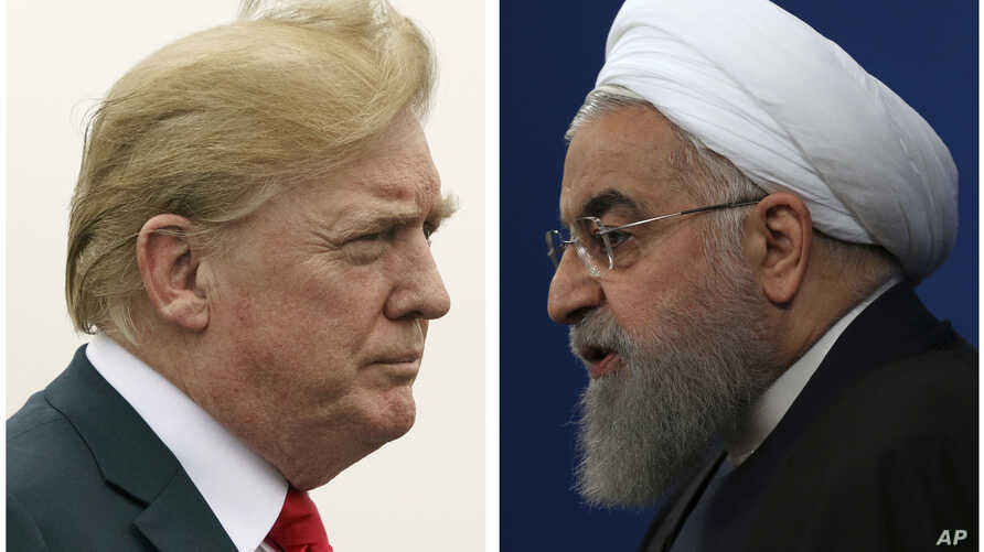 U.S. President Donald Trump (L) on July 22, 2018, and Iranian President Hassan Rouhani on Feb. 6, 2018.