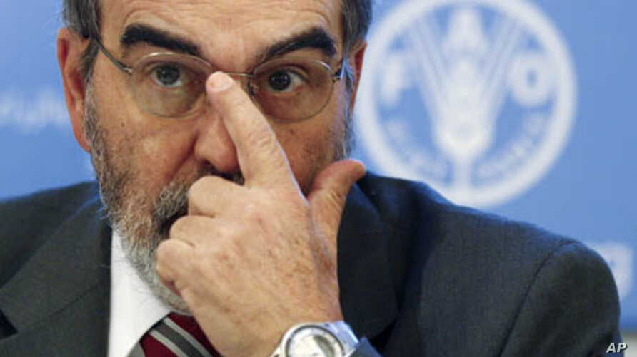 Jose Graziano da Silva, director-general of UN's Food and Agriculture Organization (FAO), adjusts his glasses as he leads a news conference at the FAO headquarters in Rome, Jan. 3, 2012.