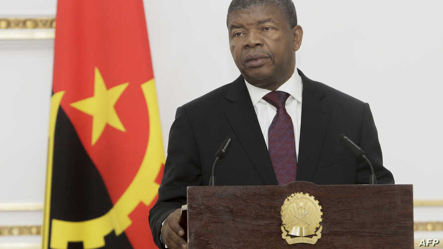 FILE - Angolan President Joao Lourenco speaks during a press conference in Luanda, Angola, Sept. 18, 2018.